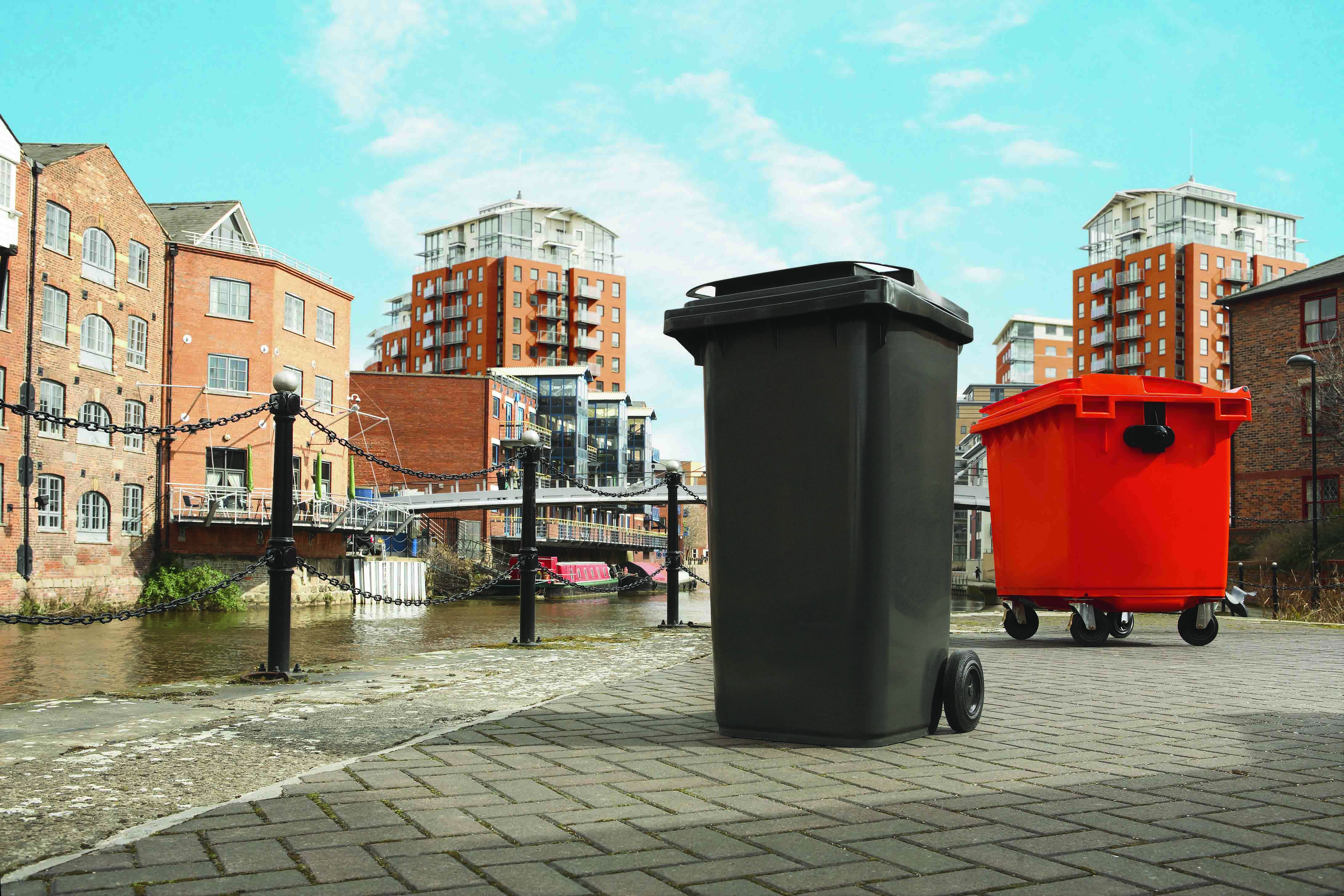 Picture of a two and four wheeled bin