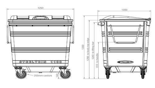 1100 litre Steelybin specification breakdown