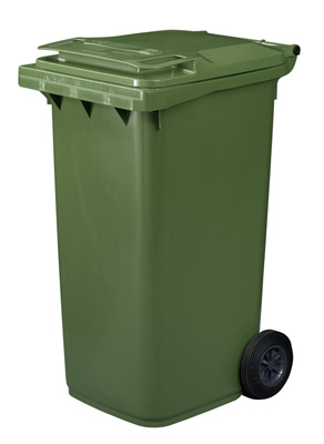 240 litre wheeled bin in green with a food waste lid straight ltd - Garden waste containers ...