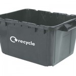 An empty black kerbside box with a recycle label on the side