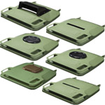 Six sifferent lids with various modifications made to different uses