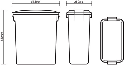 60 litre Colour Coded Bin diagram