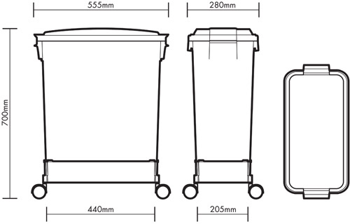 60 litre Colour Coded Bin diagram with trolley