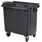 A black four wheeled bin
