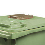 A wheeled bin lid with a small food waste aperture in it