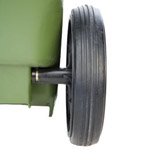 A wheelie bins black wheel