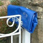 Aa blue bag folded into a small space