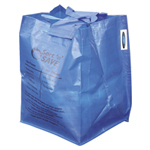 A blue bag for recycling.