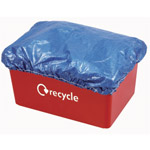 A blue weatherprrof cap on a red flatsided box