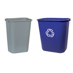 A Blue and grey deskside bin
