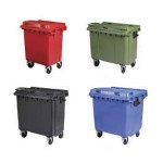 Four different coloured four wheeled bins in four different sizes