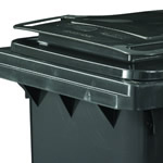 A close up of a grey wheelie bin