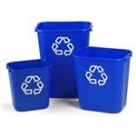 Three blue deskside bins with a recycle logo on them