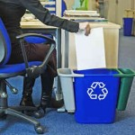 Deskside bin with two recycling compartments added at both sides