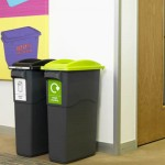 Two EcoSort recycling bins