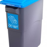 An office bin with a blue lid with a large slot and lock for confidential paper