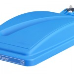 A blue bin lid for confidential documents with lock