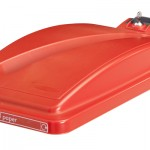 A red bin lid for confidential documents with lock