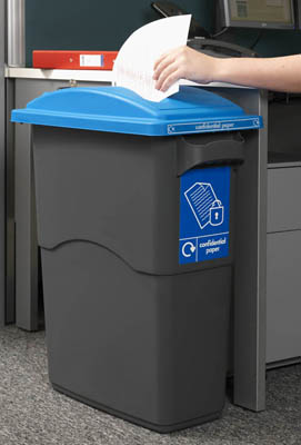 An Office Bin With A Blue Lid With A Large Slot For Paper In Use In