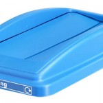 A lid with two swing slots in blue