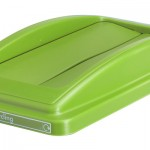 A lid with two swing slots in light green
