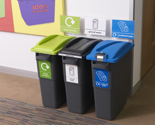 Merveilleux A Line Of Bins Next To Each Other For Various Office Recycling Needs
