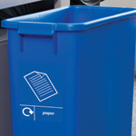 Bespoke graphics on a blue colour coded bin