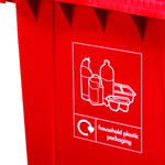 Custom graphics on the front of a red four wheeled bin