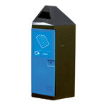 Black hexaginal bin with a blue door and recycling label