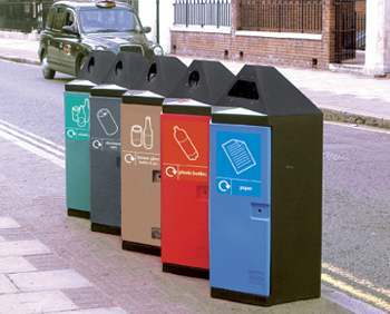 Multiple heaginal bins in a row for different recycled materials
