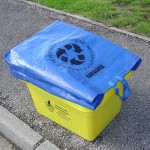 A lid bag ready for collection on a kerbside