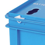 A blue snap fitting finged lid on a battery box