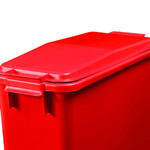 A red lid on a red colour coded bin base