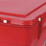 A lock in the lid of a red hazardous waste box