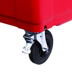 A lockable mechanism on a four wheeled bin