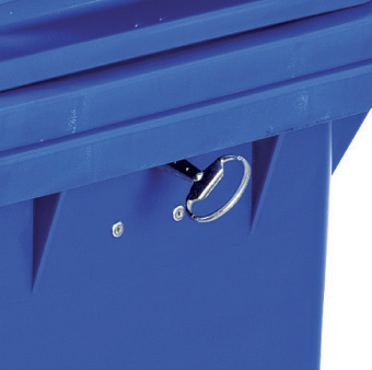 A four wheeled bin with a lock and key
