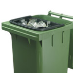 A black inner caddy nested inside a green wheelie bin