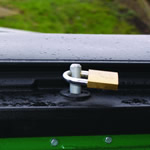 A lock fitting for a standard padlock fitted into the lid of a four wheeled bin