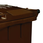 A close up of a brown wheelie bin