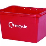 55 litre Grab Kerbside Box with recycle graphic - red