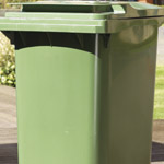 A green wheelie bin outside ready for collection