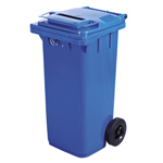 A blue wheelie bin with a lock to ensure privacy
