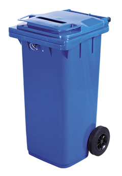 A securely locked blue two wheeled bin