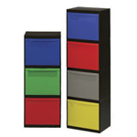 Two vertically stacked recycling modules next to each other with multi-coloured drawers