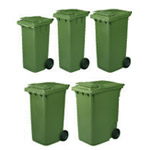 Five different sizes of compost bin