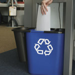 A blue deskside bin with a recycle logo