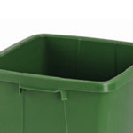 A green colour coded bin with no lid