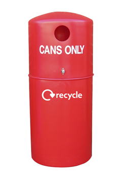 Red bin for recycling cans
