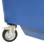 A close up of a sumped base in a blue four wheeled bin