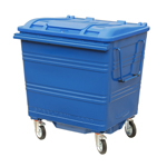 A blue four wheeled bin